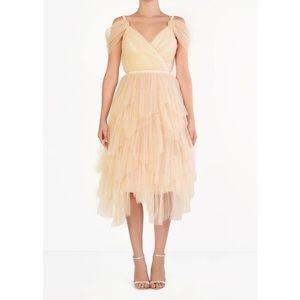 True Decadence Tulle Layered Midi Dress Cream Med